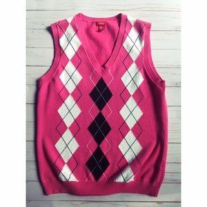Izod Women's Argyle Pink Vest